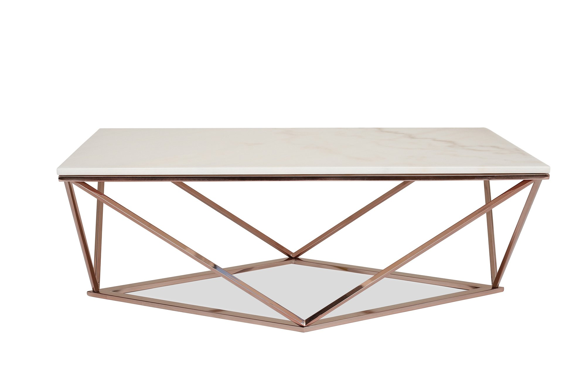 STELLA White Marble Coffee Table - Modern Gold Coffee Tables for Living Room - Rose Gold