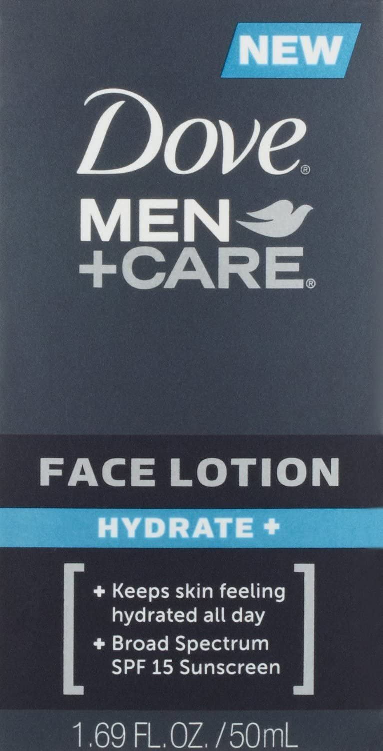Dove Men + Care Face Lotion Hydrate with Broad Spectrum SPF 15, 1.69 Fl Oz