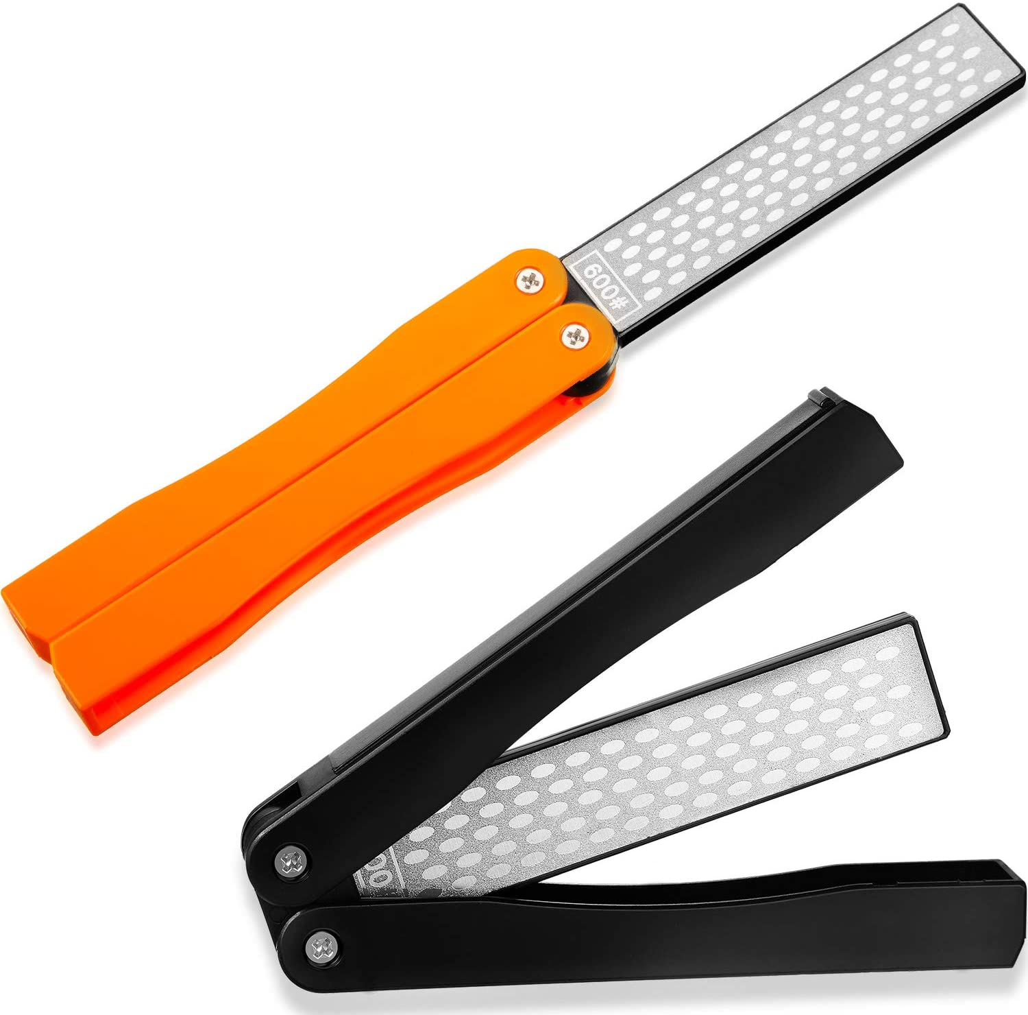 2 Pack Garden Tool Sharpener, Folding Pocket Diamond Knife Sharpener 400/600 Grit Double-Sided Scissor, Pruners, Loppers or Blade Sharpening Stone for Garden Outdoor Camping Kitchen