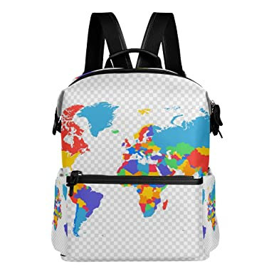 Amazon colorful abstract world map backpack school bag large colorful abstract world map backpack school bag large travel daypack gumiabroncs Gallery