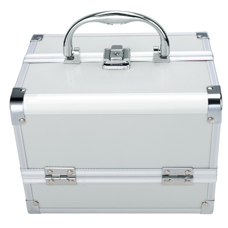 Portable Folding Aluminum Makeup Train Case Jewelry Cosmetic Box Storage Organizer+ Mirror + 2 Keys (US STOCK)