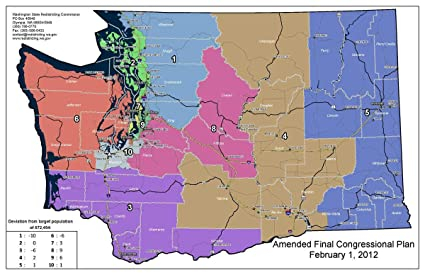 Amazon.com: Laminated Map - Washington S Congressional ...