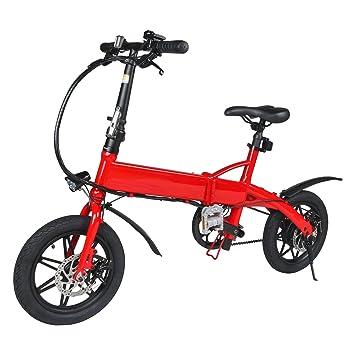 "M MEGAWHEELS Bicicleta Eléctrica, Megawheels 14"" Ultra Ligero Plegable Ciudad Ebike, 3 Modos"