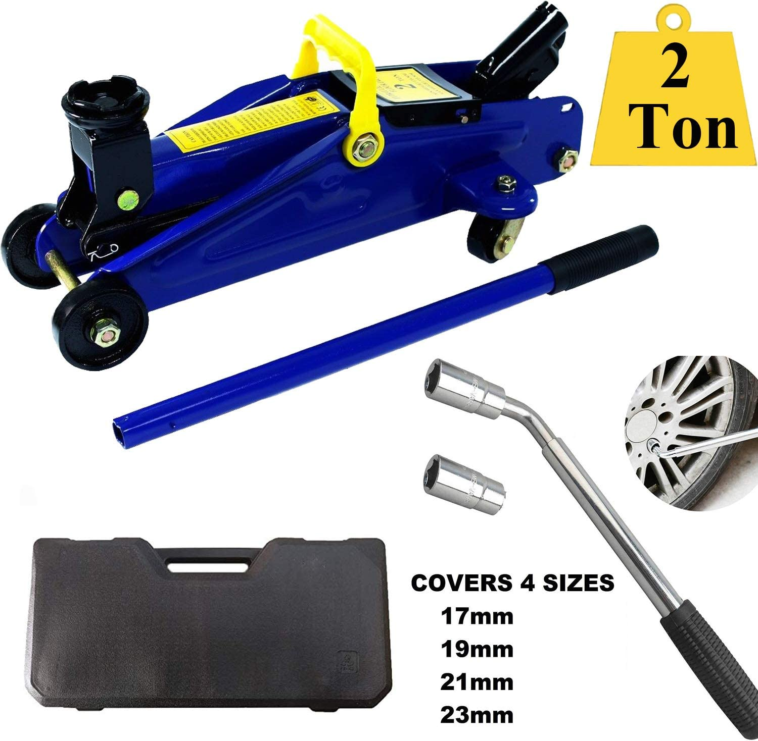 ZanGe 2 Tonne High Lift Hydraulic Trolley Jack with Storage Case Blue+Extending Power Telescoping Lug Nut Wrench with 17mm 19mm 21mm 23mm Sockets for Car Van Truck Repair Emergency Tool