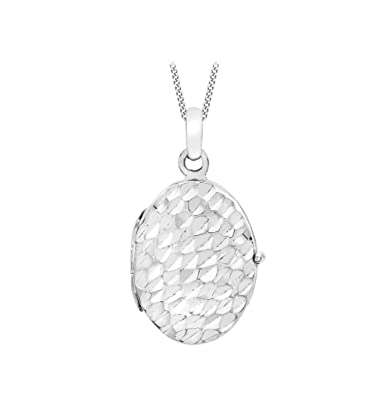 84ca9c58d Carissima Gold 9ct White Gold Diamond Cut Oval Locket on Curb Chain Necklace  of 46cm/18