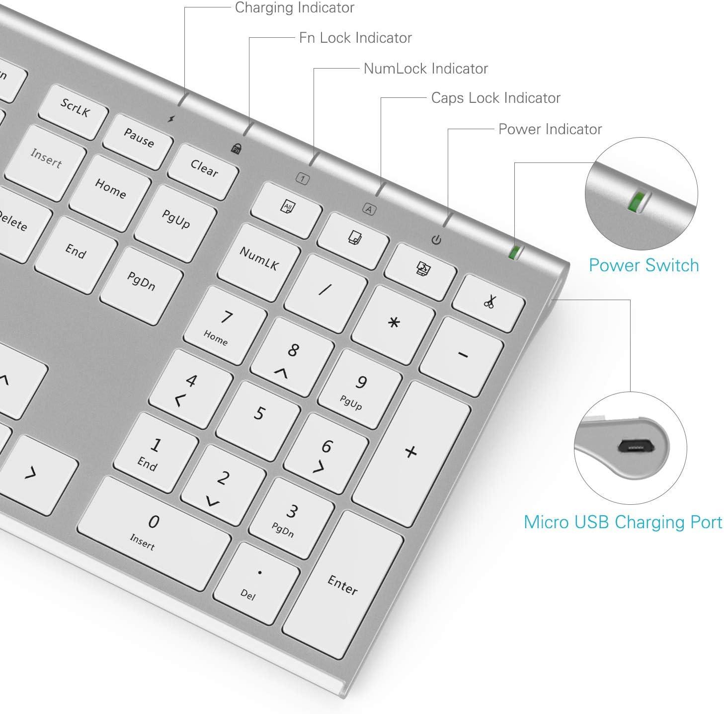 Teclado inal/ámbrico y rat/ón Combo blanco y plateado Jelly Comb 2.4G tama/ño completo USB recargable teclado y ratones QWERTY Reino Unido dise/ño para PC//Laptop//Ordenador con sistema Windows//Linux