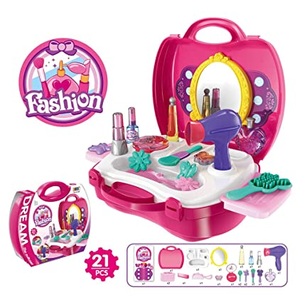 odowalker make up kit case toy 21pcs pretend play toys playset for little girl - Christmas Presents For Toddlers