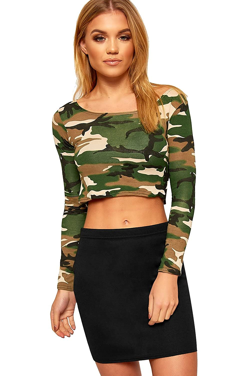 f1d1188c1 WearAll Women's Army Camouflage Print Long Sleeve Short Stretch Crop Top at  Amazon Women's Clothing store: