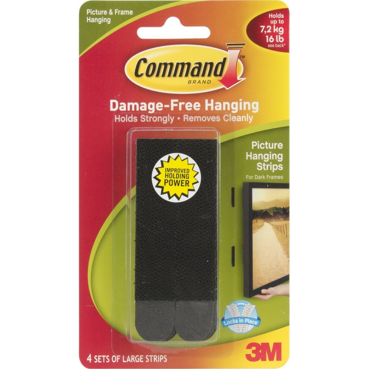 Command Large Picture-Hanging Strips, Black, 12-strips