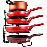 SHMEIQI Heavy Duty Pan Pot Lid Organizer Rack Holder Cabinet, Pantry, Countertop, Cupboard - Adjustable Compartments
