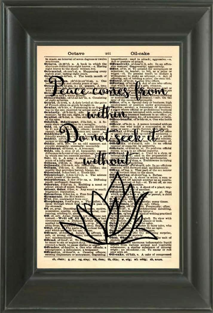 Book Print Vintage Dictionary Art Print Vintage Art Typography Artwork Dictionary Page Print 126B Peace Comes From Within Art Print Peace Quote Art Print Inspirational Quote Art Print