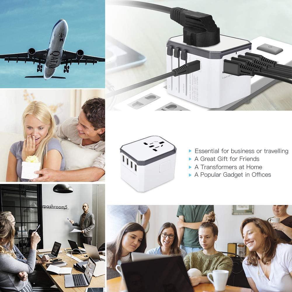 les /États-Unis chargeur rapide 5.6A avec 4 ports USB dans le monde entier Type-C et AC lAsie et plus de 200 pays Evershop Adaptateur de voyage universel pour le Royaume-Uni vers lEurope