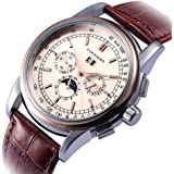 GuTe Luxury Gentleman Rose Gold Automatic Mechanical Wristwatch Brown Faux Leather Moon-phase