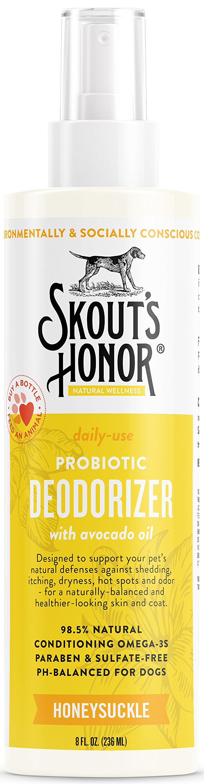 SKOUT'S HONOR Pet Conditioner Probiotic Deodorizer Honeysuckle - 8 fl. oz. - Hydrates and Deodorizes Fur, Supports Pet's Natural Defenses, PH-Balanced and Sulfate Free - Avocado Oil