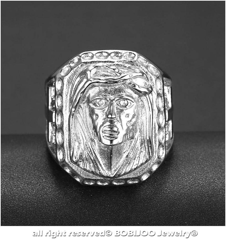 BOBIJOO Jewelry Grosse Chevali/ère Bague T/ête J/ésus Christ Croix Acier INOX 316L Voyageurs Gitans