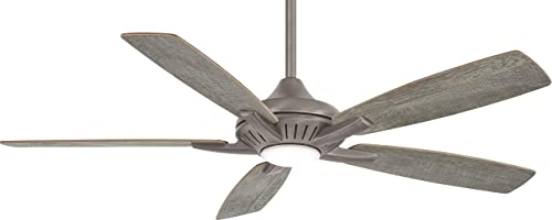 Minka Aire F1000-BNK Dyno – 52 Inch Ceiling Fan with Light Kit, Burnished Nickel Finish with Savannah Gray Blade Finish with Frosted Glass