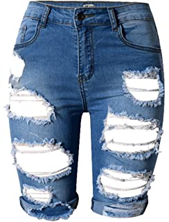 b188b300eac355 Women Sexy Destroyed Ripped Bermuda Shorts Outfit Denim Cut Hot ...