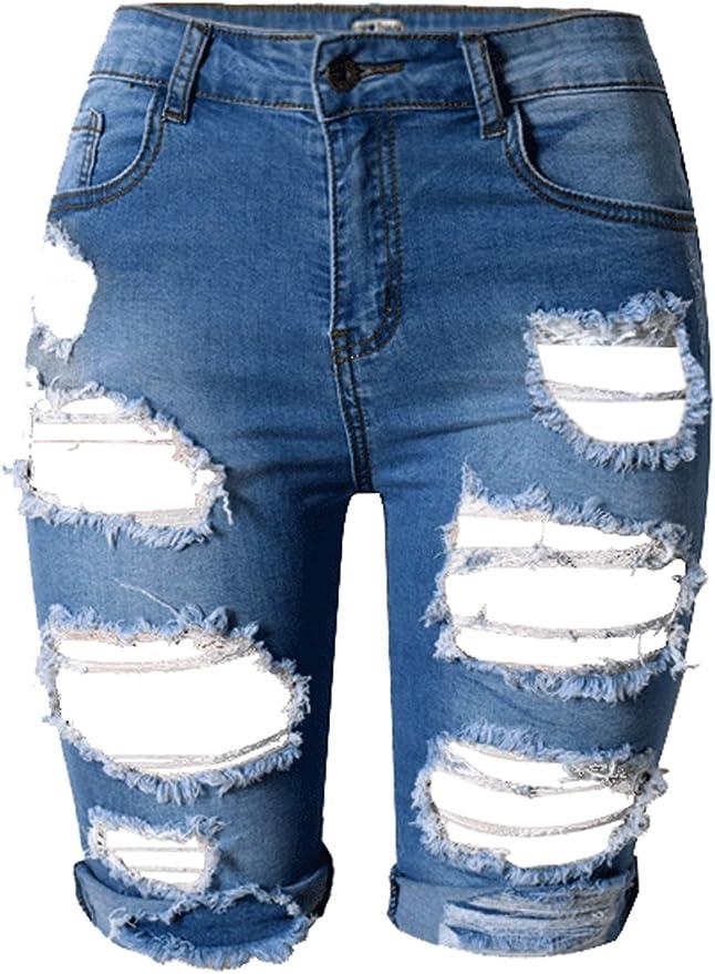 LOLO BLUES Womens Juniors High Rise Frayed Raw Hem Distressed Ripped Denim Jean Shorts