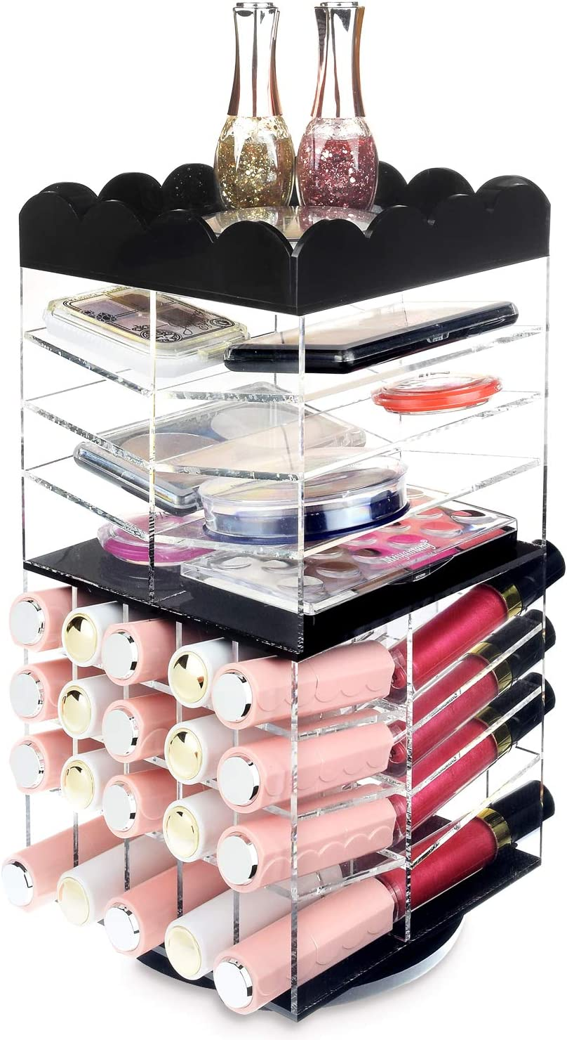 Acrylic Lipstick Spinning Tower Display Holder Cosmetic Stand Makeup Organizer