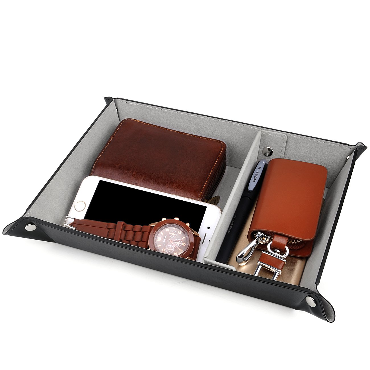 SPSHENG Valet Tray for Storage,PU Leather Jewelry Nightstand Organizer Watch Coin Change Key Tray Box Black