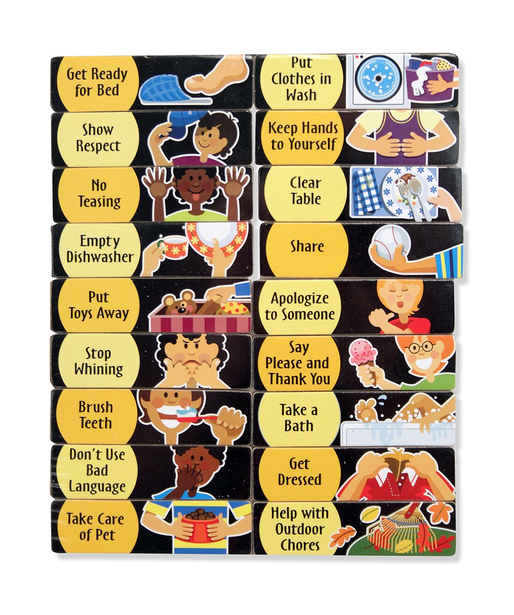 Amazon.com: Melissa U0026 Doug Deluxe Wooden Magnetic Responsibility Chart With  90 Magnets: Melissa U0026 Doug: Toys U0026 Games  Progress Chart For Kids
