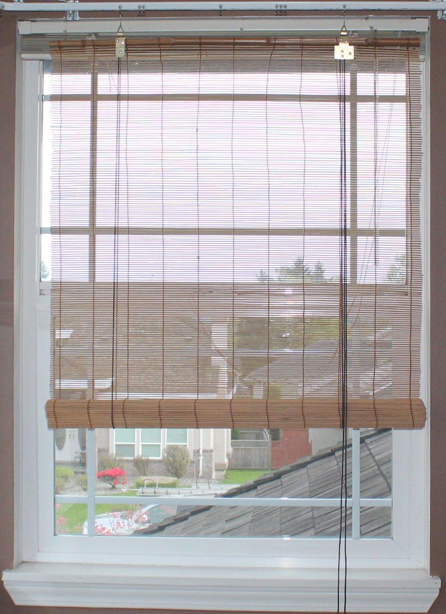 Natural Bamboo Matchstick Roll Up Window Blind Light Brown, 24 x 72