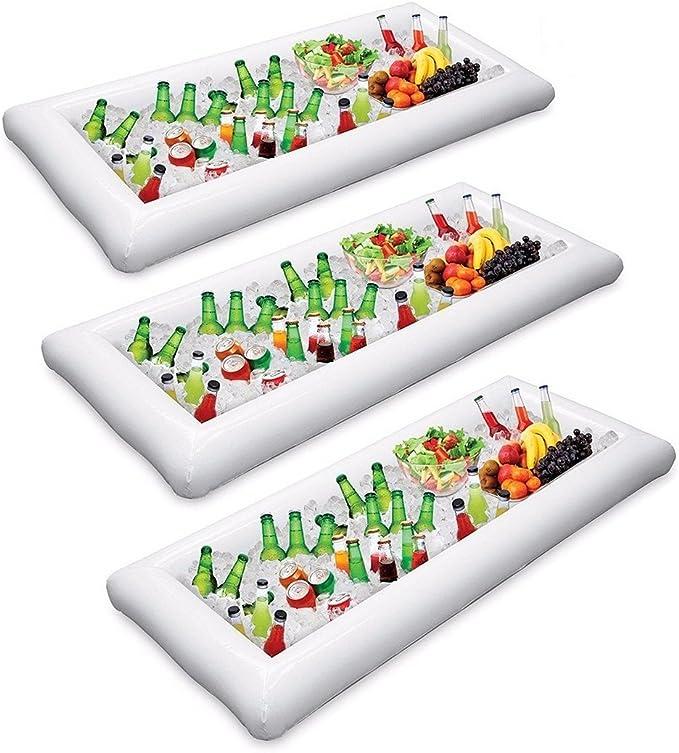 XONOR Soporte para Bebidas Inflable de la Bandeja de la Barra de Servicio de 3 Piezas, Barbacoa Picnic Piscina Fiesta Buffet Luau Enfriador con tapón de Drenaje: Amazon.es: Hogar