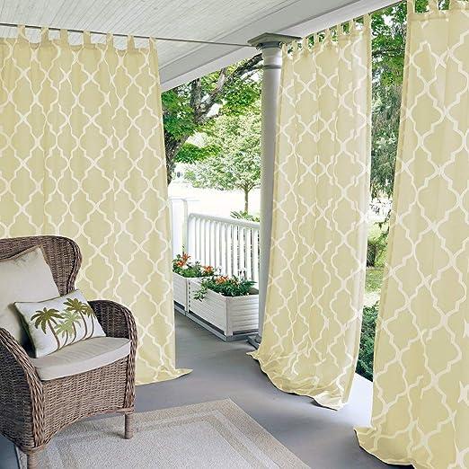 N&T 1 pieza marfil enrejado cenador Panel 84 pulgadas crema marroquí impresión exterior cortina resistente al