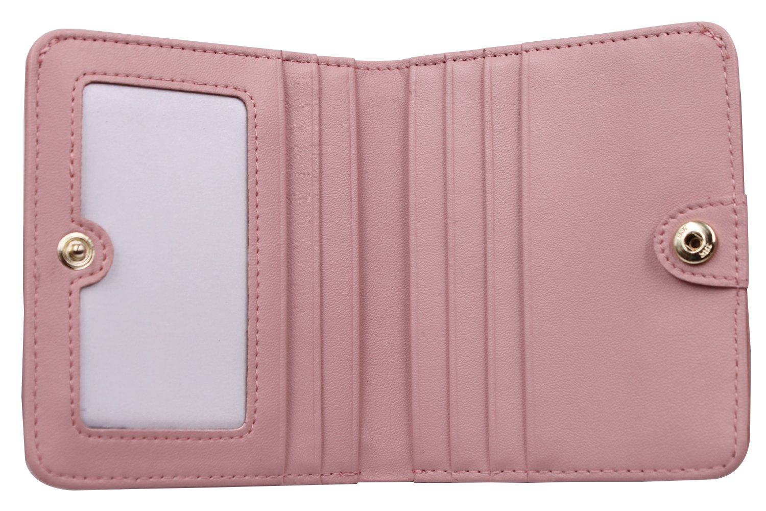 Women's Small Compact Bi-fold Leather Pocket Wallet Credit Card Holder Case with ID Card Window (New Pink) by ARRIZO (Image #3)