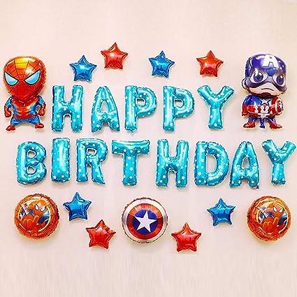Super Hero Marvel Avenger Birthday Party Balloons 10 X Spiderman Latex Balloons