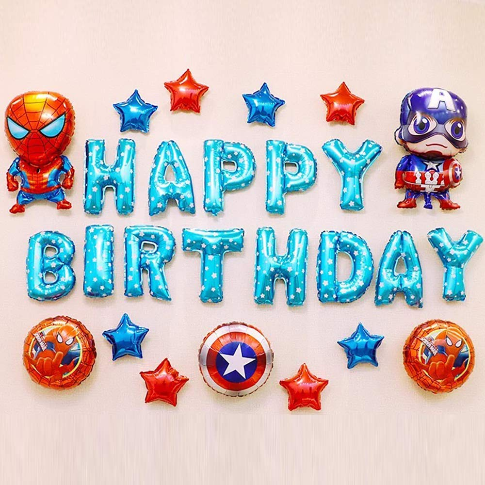 CuteTrees Super Hero Spider and Captain America 1st 2nd 3rd 4th 5th 6th 7th 8th 9th Happy Birthday Balloons set for birthday party birthday decoration birthday supplies 26 pcs