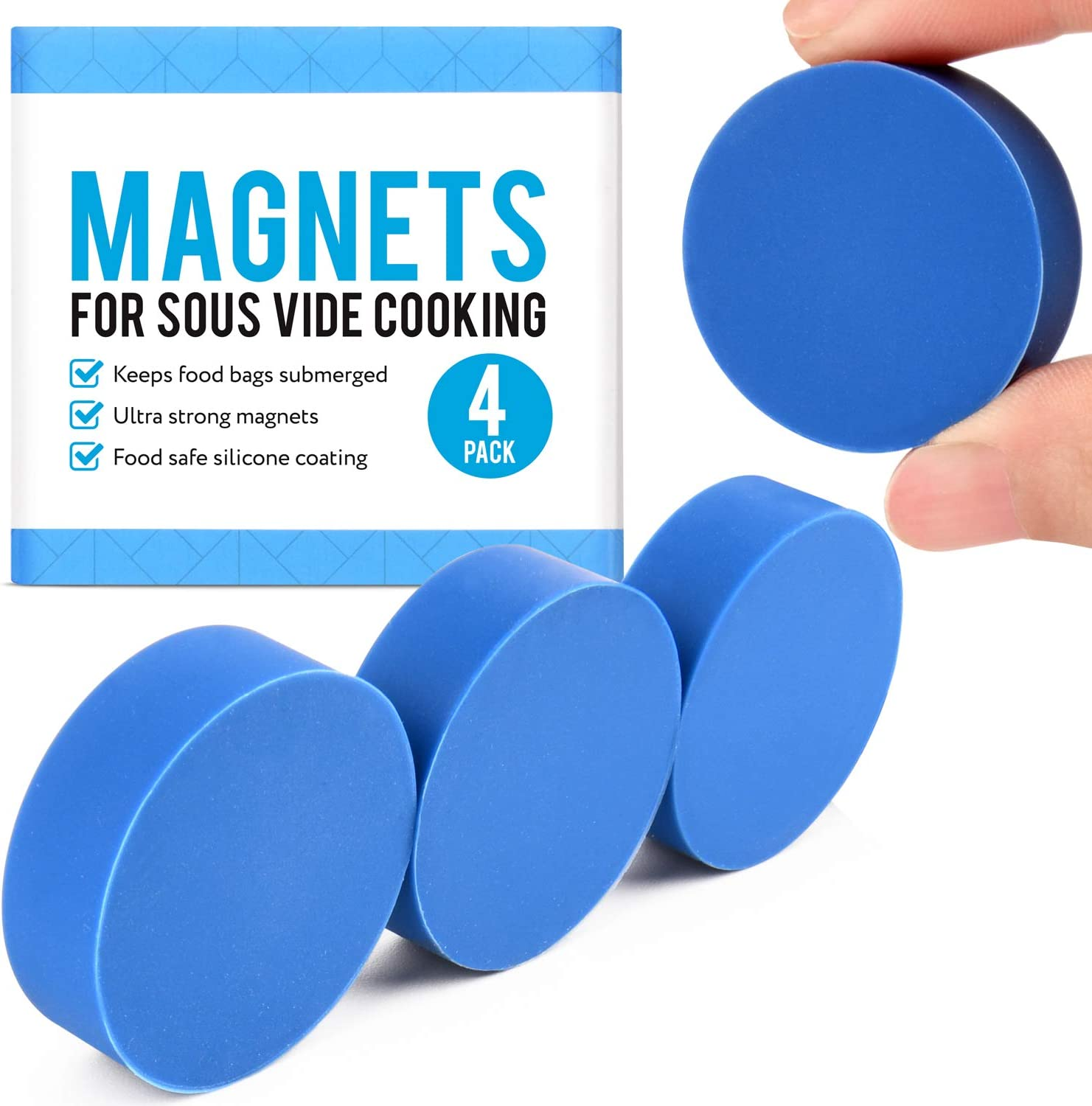 [4 pack] Sous Vide Magnets to Keep Bags Submerged and In Place - Sous Vide Accessories to Stop Floating Bags and Undercooking - Great Alternative to Sous Vide Weights, Balls, Clips, and Racks