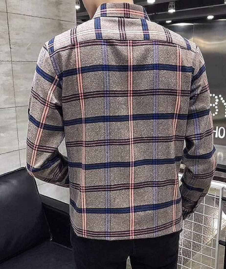 Fubotevic Men Button Up Shirt Casual Plaid Slim Long Sleeve Dress Shirt