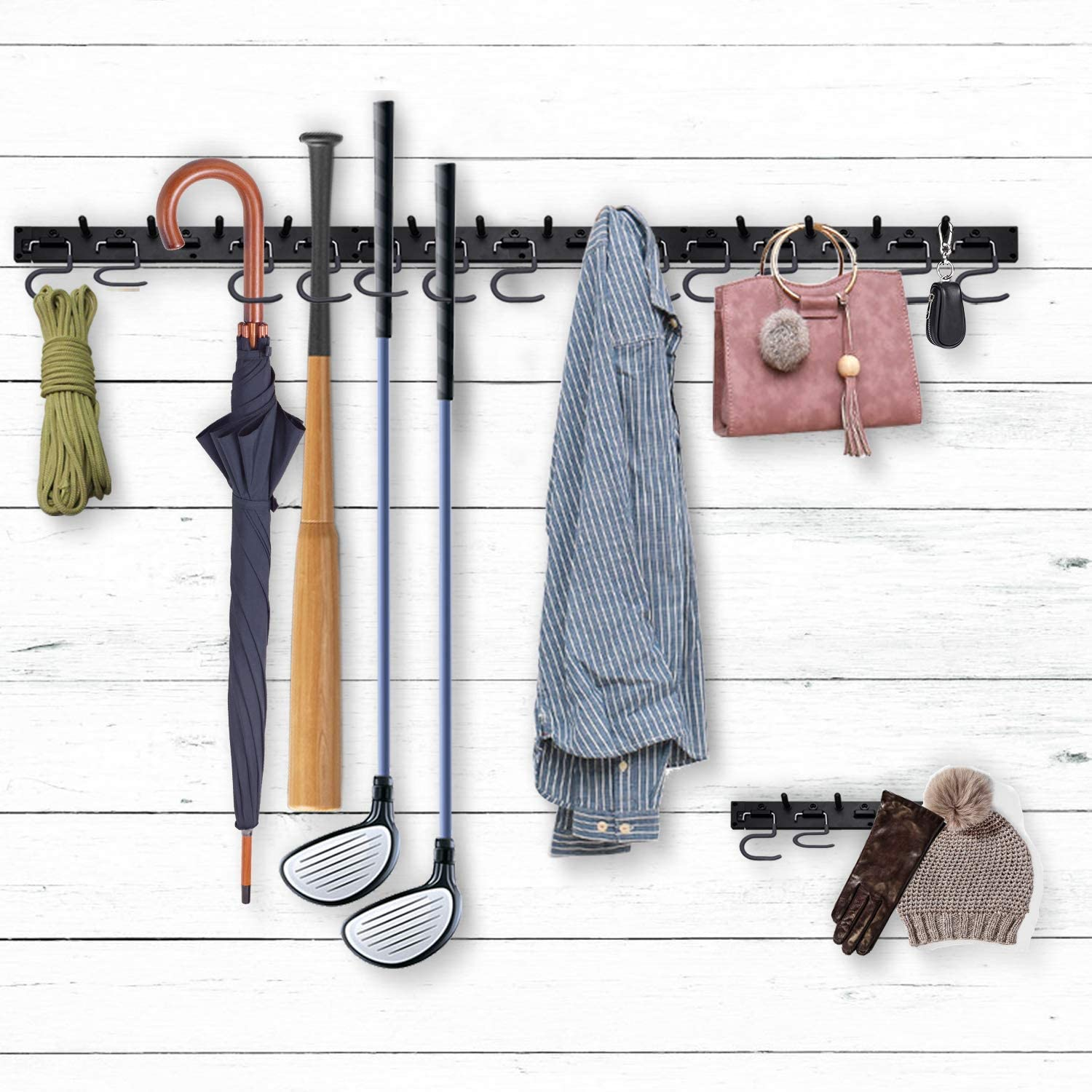 NZACE Adjustable Storage System 48 Inch, Wall Holders for Tools, Wall Mount Tool Organizer, Garage Organizer, Garden Tool Organizer, Garage Storage, Heavy Duty Tools Hanger with 3 Rails 12 Hooks - -