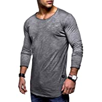 Ocamo Men Cotton Tops Long Sleeve Shirt Round Collar Casual Wear Casual Solid Color Spring Autumn Bottoming Shirt