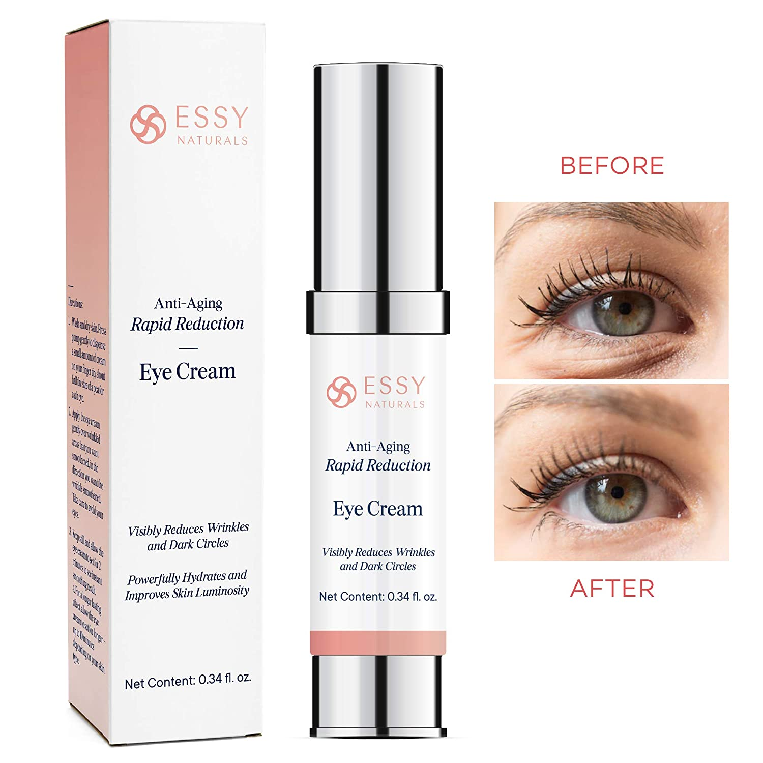 Amazon Com Essynaturals Anti Aging Rapid Reduction Eye Cream Visibly And Instantly Reduces Wrinkles Under Eye Bags Dark Circles In 120 Seconds Beauty
