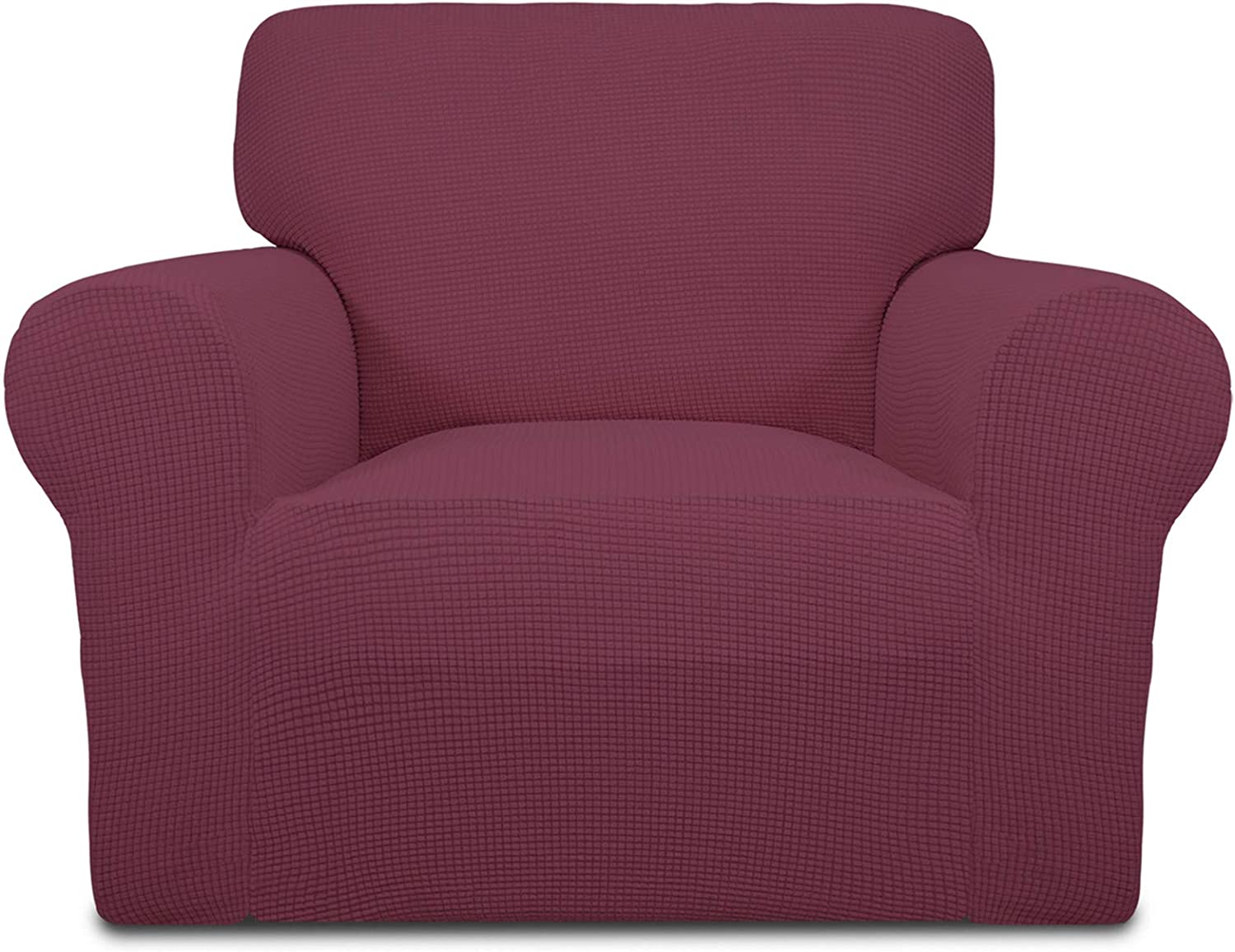Easy-Going Stretch Chair Sofa Slipcover 1-Piece Couch Sofa Cover Furniture Protector Soft with Elastic Bottom for Kids Spandex Jacquard Fabric Small Checks(Chair, ASH Rose)