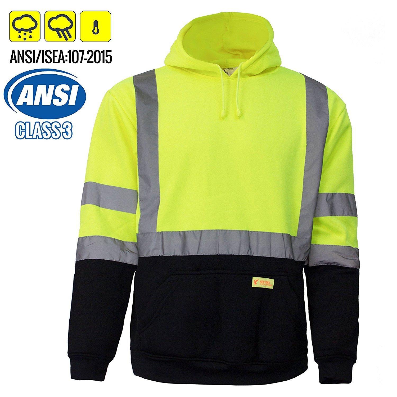 New York Hi-Viz Workwear H8312 Men's ANSI Class 3 High Visibility Class 3 Sweatshirt, Hooded Pullover, Knit Lining, Black Bottom (Lime, 5-XL)