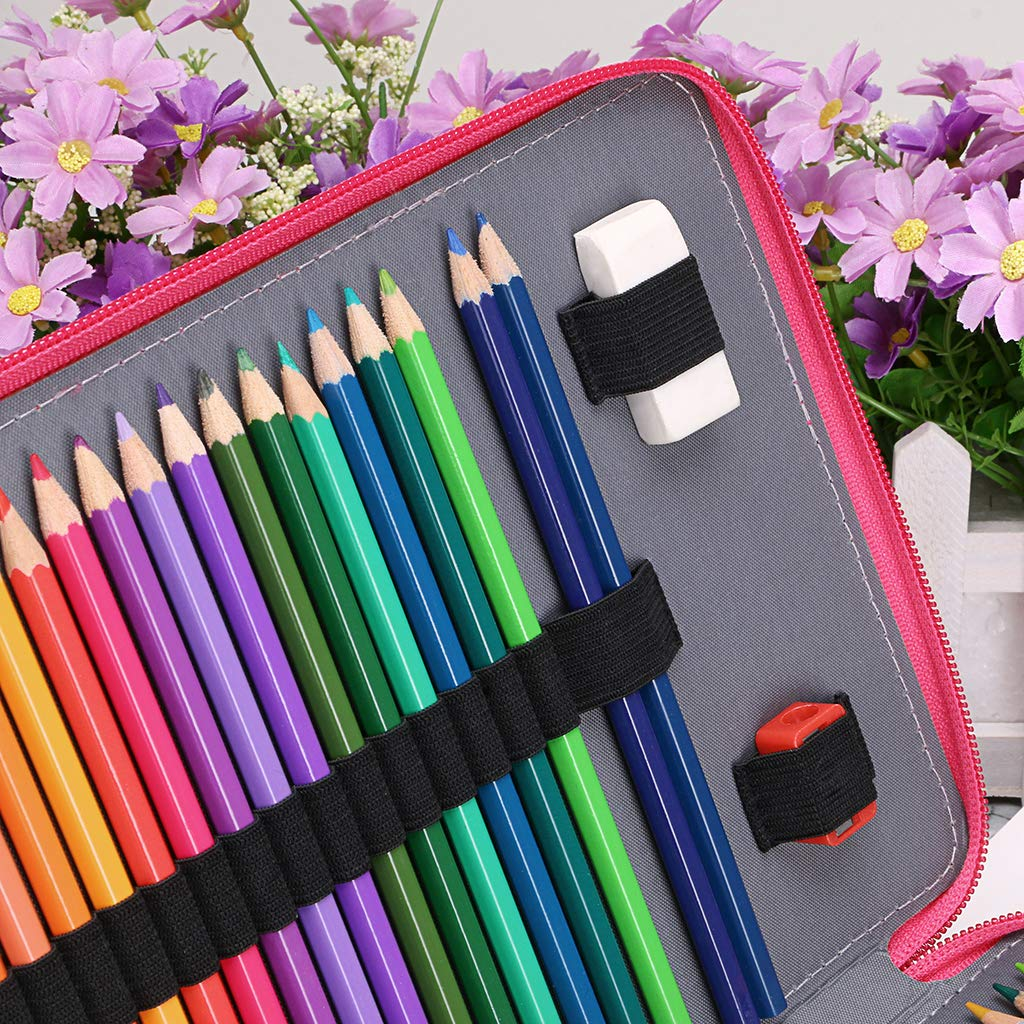 BTSKY New Deluxe PU Leather Pencil Case for Colored Pencils 200 Slots Pencil Holder r with 4 Layers Green