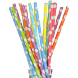 """175 Count Paper Drinking Straws 7 3/4"""" Stylish Large Polka Dot in Assorted Rainbow Colors of Special Curation, Best Suited for Parties, Events and Crafts (Large polka dot)"""