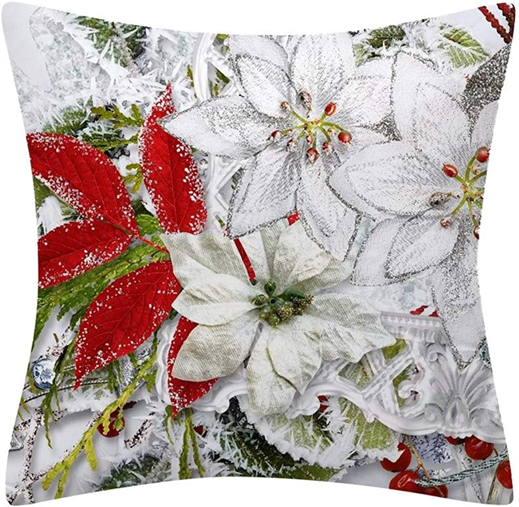 Dermanony Christmas Snowman Pillow Cases Cartoon Print Sofa Cushion Case Throw Pillow Cover 18x18 inches Without Core