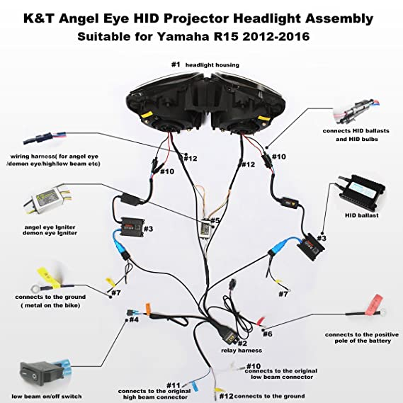 Fantastic Amazon Com Kt Led Headlight Assembly For Yamaha R15 2012 2016 White Wiring 101 Xrenketaxxcnl