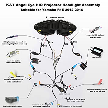 Kt Led Headlight Assembly For Yamaha R15 2012 2016 White Angel Eye Amazon In Car Motorbike