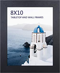 8x10 Black Picture Frame, Photo Frames for Wall Tabletop Display, Ready to Hang, Home Decoration