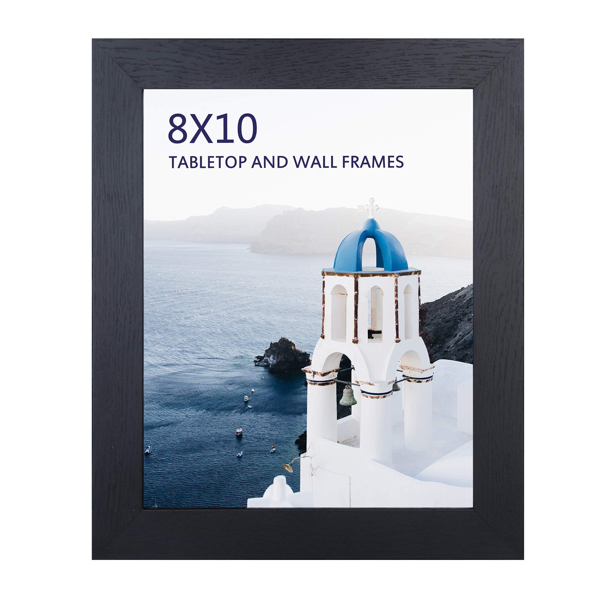 8x10 Black Picture Frame for Photo Display, Wood Frames for Wall Tabletop Decoration by FRAME YI
