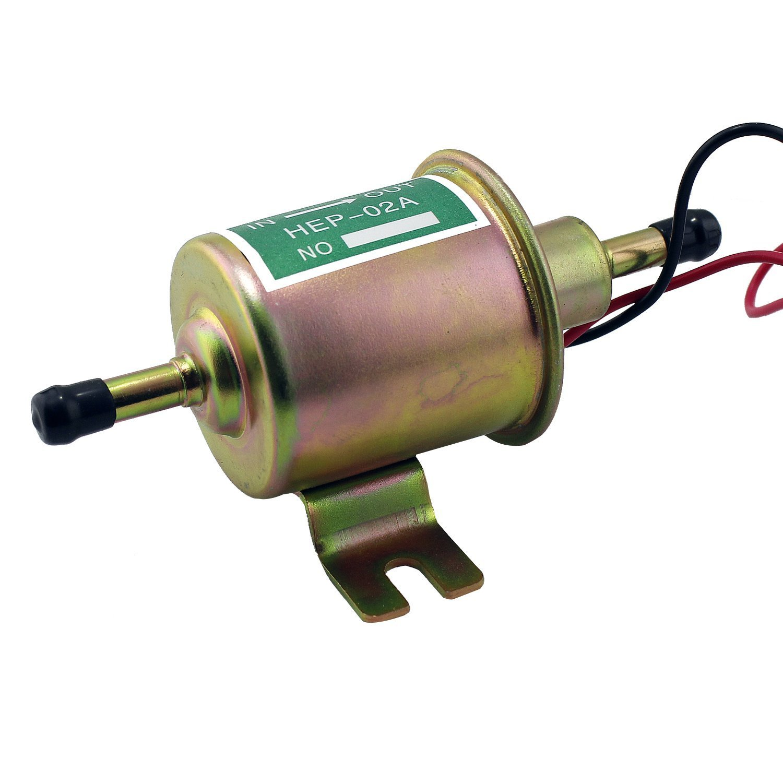 Silver Aussel 12V Universal Heavy Duty Heavy Duty Electric Pump Metal Perno de baja presi/ón de fijaci/ón de alambre en l/ínea para gasolina y Diesel HEP-02A