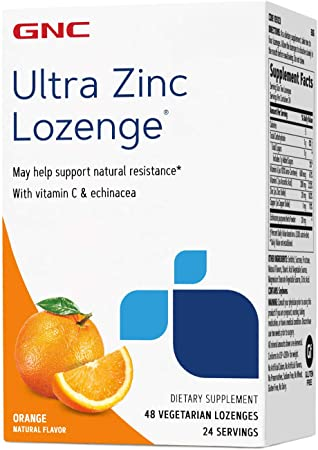 GNC Ultra Zinc Lozenge - Orange, 48 Lozenges, Vitamin C & Echinacea, Support a Healthy Immune System