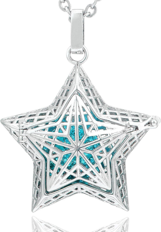 Morella Collar ángel de la Guarda de Acero Inoxidable 70 cm con Colgante Estrella de Buena Suerte y Bola de resonancia de circonita para Damas en Bolsa para Joyas