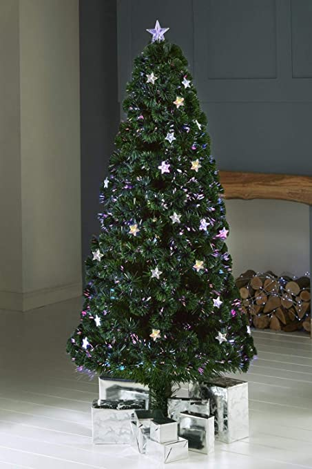 d9fb1c659be05 Superbuys Online DELUX MULTI COLOURED FIBRE OPTIC LED INDOOR STAR TOP MULTI  FUNCTION CHRISTMAS TREE (Green