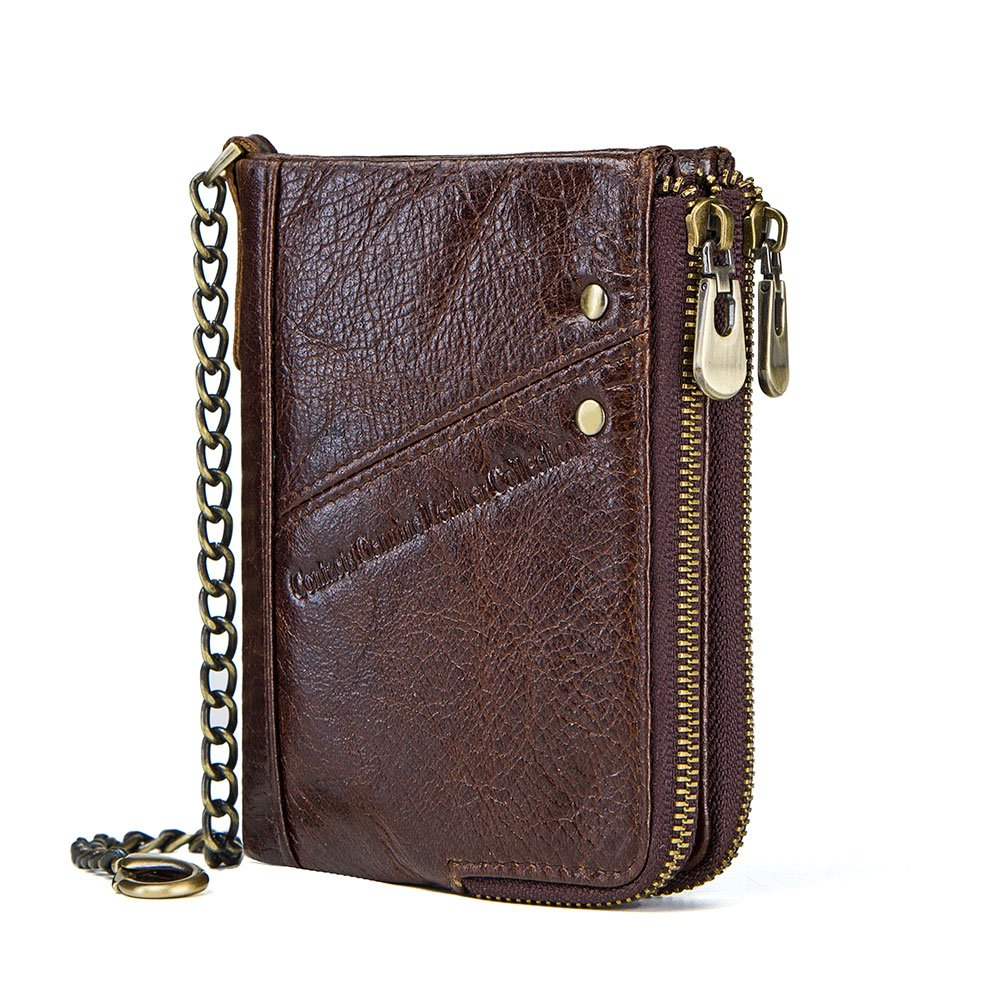 Contacts Mens RFID Blocking Real Leather Bifold Double Zipper Coin Pocket Purse Wallet with Anti-Theft Chain (Dark Coffee)
